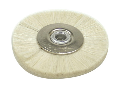 White Bristle Lathe Brush 2 Soft  White-metal Centre