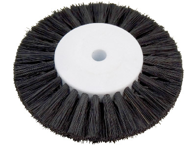 Black Bristle Lathe Brush 2.5,    Stiff, Plastic Centre