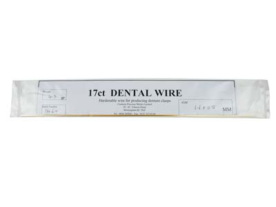 17ct Platinised Dental Wire 1.6mm  X0.8mm Diameter Half Round